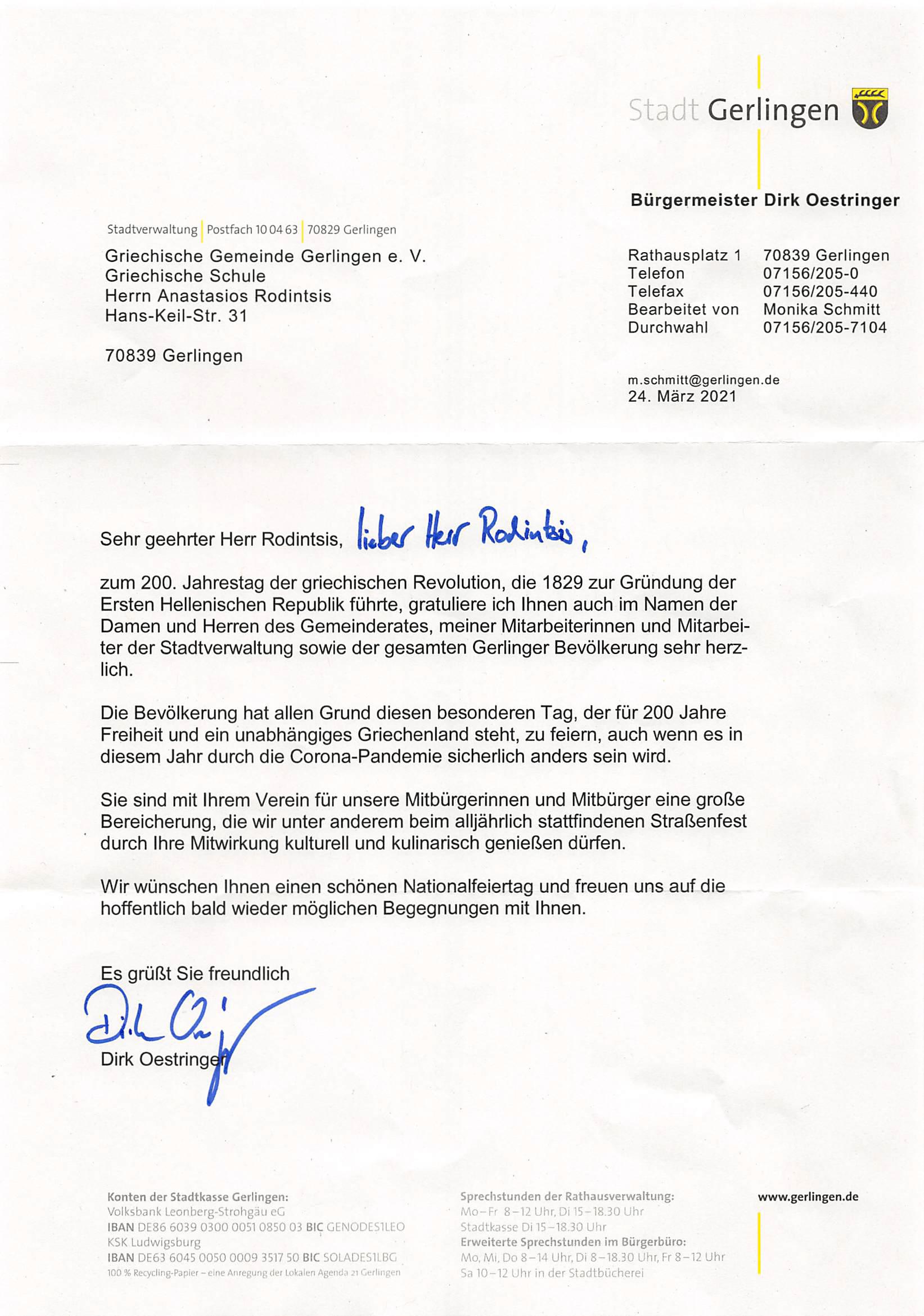 Brief vom Bürgermeister